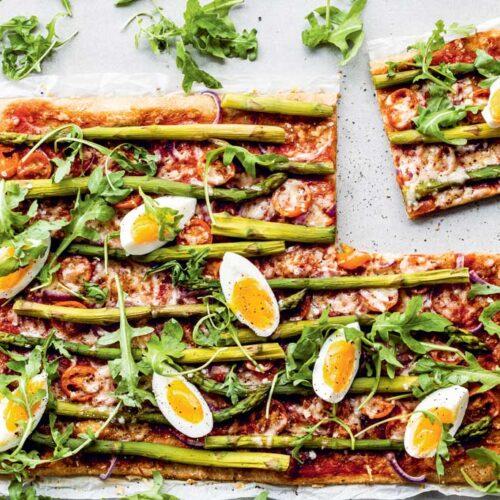 Volkorenplaatpizza met asperges