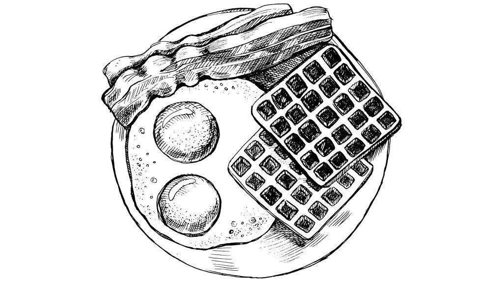 hartige wafels met eieren en spek