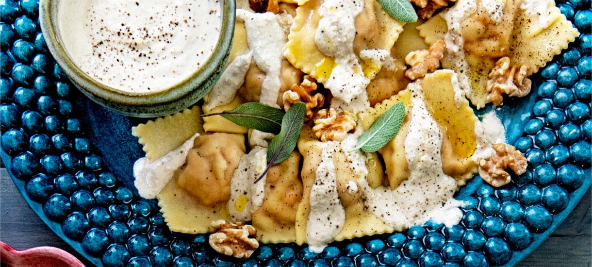Ravioli met zoete aardappel en amaretti